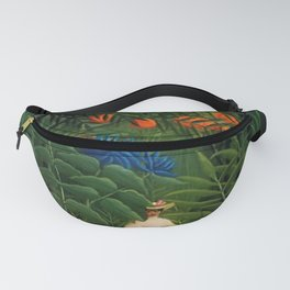 'Woman walking amid Tropical Blue Cornflowers in an exotic forest' by Henry Rousseau Fanny Pack