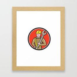Construction Worker Spanner Circle Cartoon Framed Art Print