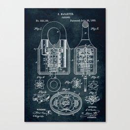 1885 - Padlock patent art Canvas Print