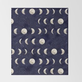 Moon Phase - Galaxy Throw Blanket