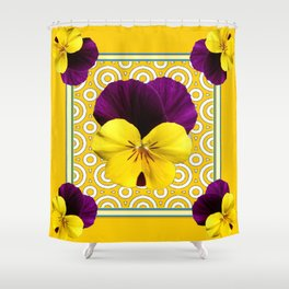 Golden Modern Art Deco Purple Pansy Pattern Art Shower Curtain