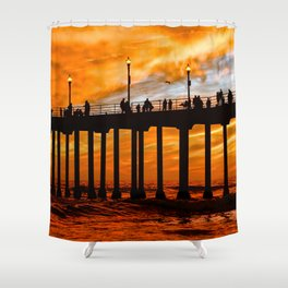 HB Silhouette's, and a fiery sunset at the Huntington Beach Pier. Shower Curtain