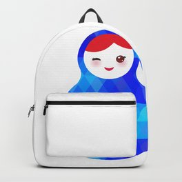 wink Russian doll matryoshka with bright rhombus on white background, blue colors Backpack