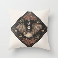 bat Throw Pillows featuring Bat  by Jessica Roux