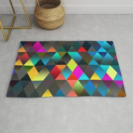 Retro Abstract Bright Colors Diamond Triangles Mosaic Pattern Rug