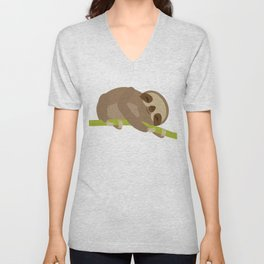 funny and cute Three-toed sloth on green branch Unisex V-Neck