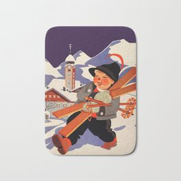 Happy Boy with Skis, Snow Covered Mountains at Night Bath Mat