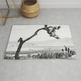 Crooked Cactus B&W // Desert Landscape Photograph Mojave Sierra Nevada Cacti Scenic View Rug