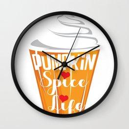 Halloween Pumpkin Spice Coffee Heart Fan Gift Wall Clock