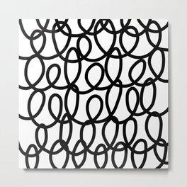 Loop the Loop / Black on white Metal Print