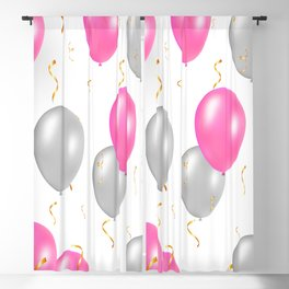 Happy party pattern, with pink, silver balloons, gold confetti. Blackout Curtain