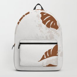 Monstera flat lay with rough grunge brushstroke Backpack