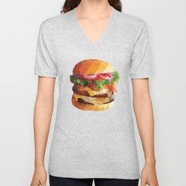 Gourmet Burger Polygon Art Unisex V-Neck