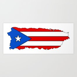 Puerto Rico Map with Puerto Rican Flag Art Print