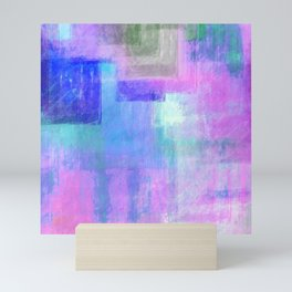Abstract pastel pink lavender navy blue watercolor brushstrokes Mini Art Print
