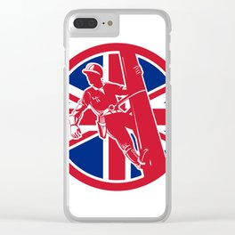 British Linesman Union Jack Flag Icon Clear iPhone Case