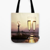 champagne Tote Bags featuring Champagne Date by Brown Eyed Lady