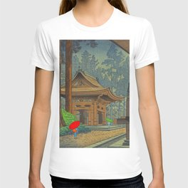 Asano Takeji Japanese Woodblock Print Vintage Mid Century Art Shinto Shrine Forest T-shirt