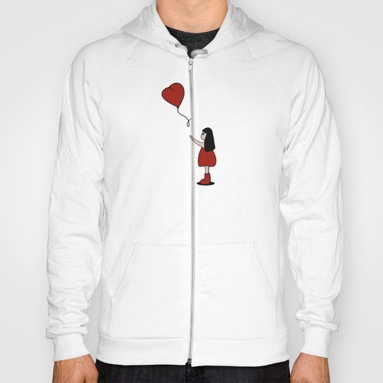 Girl with a Heart-Shaped Balloon Hoody