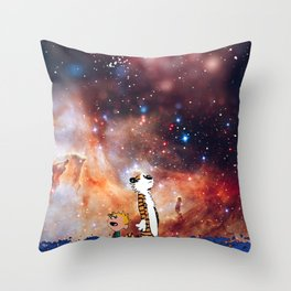 Calvin And Hobbes Nebula Throw Pillow