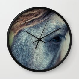 Blue grey horse Wall Clock