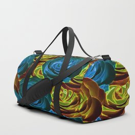 closeup rose pattern texture abstract in blue red and yellow Duffle Bag