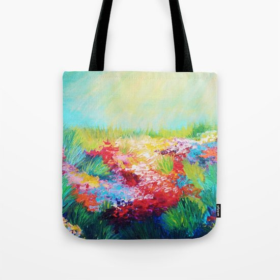 ETHERIAL DAYS - Stunning Floral Landscape Nature Wildflower Field Colorful Bright Floral Painting Tote Bag