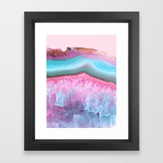 Rose Quartz and Serenity Agate Framed Art Print
