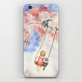 Girl on a Sakura Tree Swing with Cats iPhone Skin