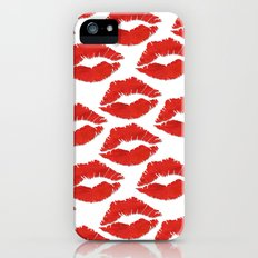 fire engine red lips iPhone (5, 5s) Slim Case