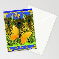BLUE ART NOUVEAU YELLOW BUTTERFLIES GREEN ART Stationery Cards