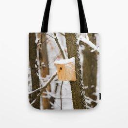 Snowy Birdhouse Tote Bag
