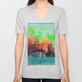 Watercolor Hogwarts Unisex V-Neck