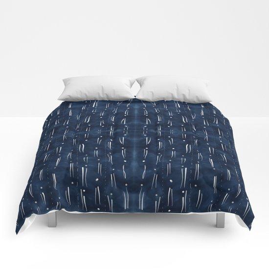 Indigo With White Dashes Comforters