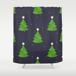 Green Christmas Tree Pattern Shower Curtain