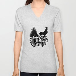 Happy Thanksgiving Rooster Corn Pine Tree Unisex V-Neck
