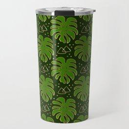 Gold Monstera Leaves in Green Travel Mug