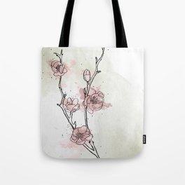 Watercolor Plum Blossom Tote Bag
