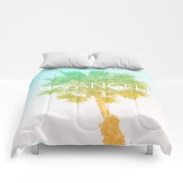Retro Vintage Ombre Los Angeles, Southern California Palm Tree Colored Print Comforters
