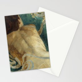 Backlite Nude Figure Oil painting Turquoise of Woman Stationery Cards