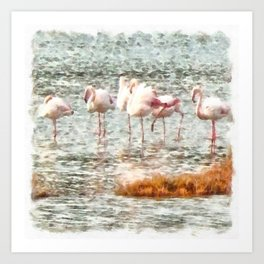 Six Flamingos A Wading Watercolor Art Print