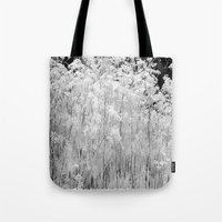 Tote Bags featuring Frosted Ornamental Grasses by Tru Images Photo Art