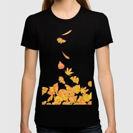 falling yellow leaves watercolor T-shirt