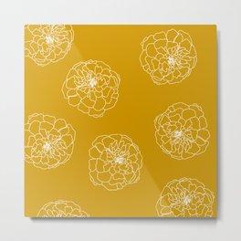 Golden Marigold Flower Heads Metal Print