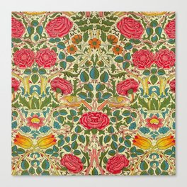 William Morris Roses Floral Textile Pattern Canvas Print
