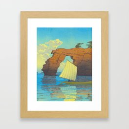 Kawase Hasui Natural Rock Arch w  Sailing Boat at Sea, Kawase Hasui, Japanese Woodblock Print  1937 Framed Art Print