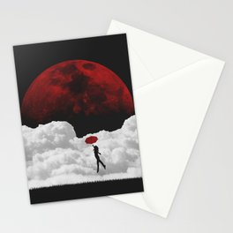 Girl in flight with a red umbrella black and white digital art photograph / black and white photography Stationery Cards