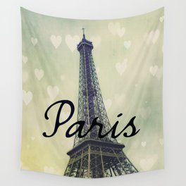 Paris Typography Eiffel Tower  Wall Tapestry