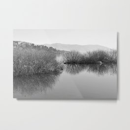 Lakescape in bw Metal Print