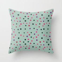 Neon pink black purple polka dots pattern Throw Pillow
